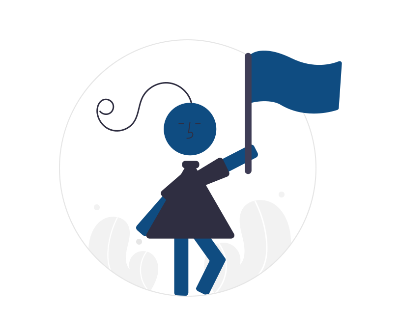 girl holding a flag in celebration